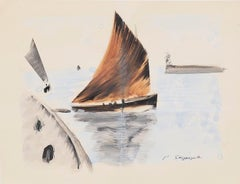 Boat - Original Ink and Watercolor Drawing - 20th Century