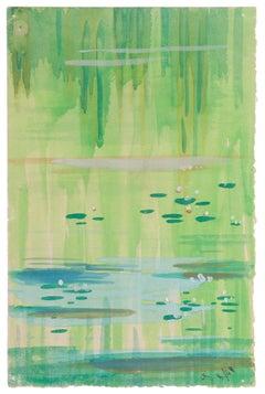 Marsh - Original Watercolor on Paper by Jean Delpech - 1948