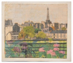 Paris Cityscape  - Original Pastel on Paper by Jane Levy - 1921