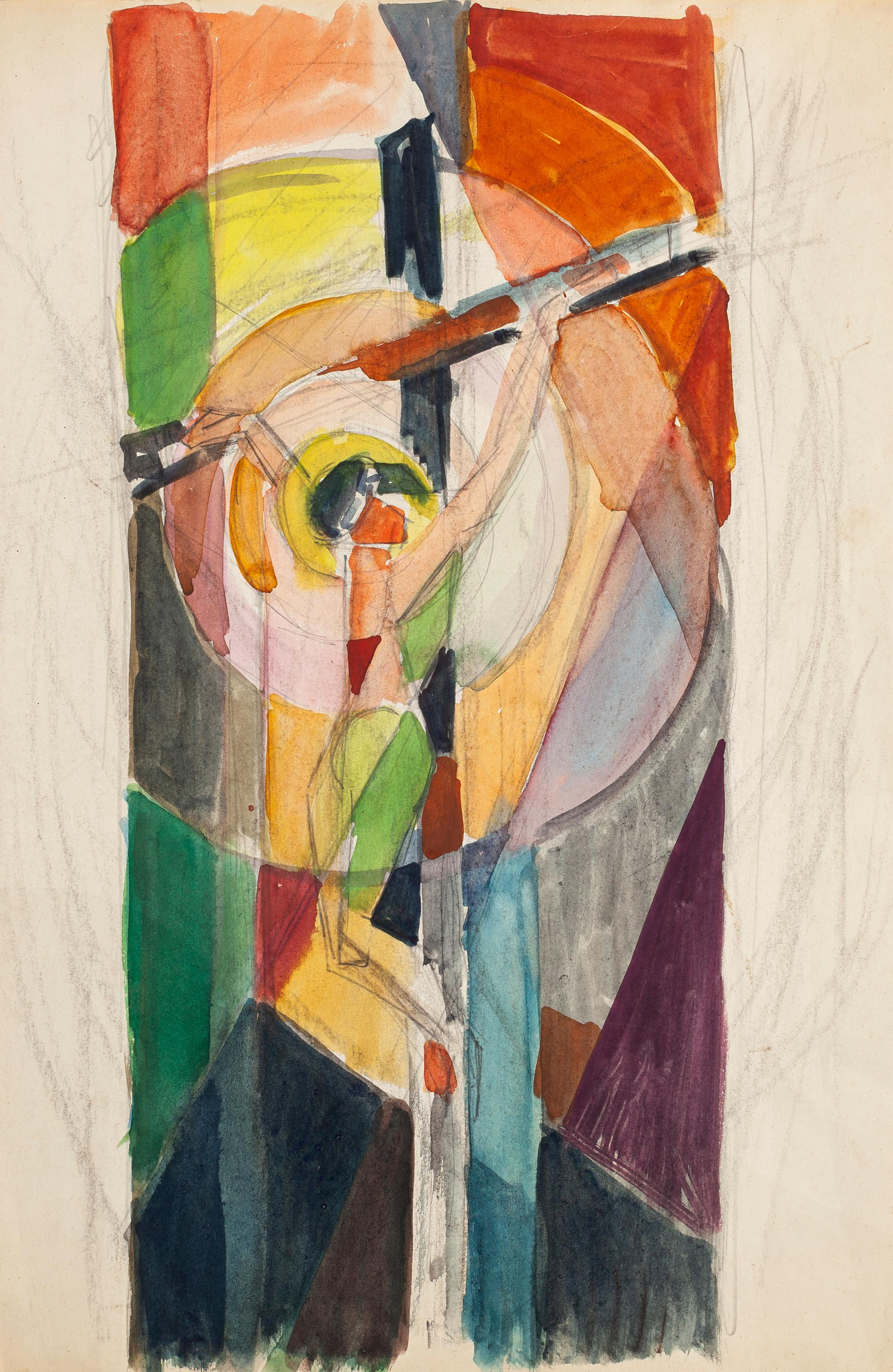 Crucified Christ  - Pencil and Watercolor by Jacques Villon - 1950s