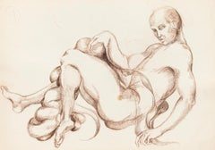 Nude Study - Original Drawing in Charcoal by Debora Sinibaldi - 1985