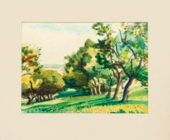 Trees - Original Watercolor Drawing by Jacques Ciry - 1970s