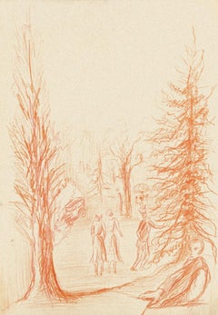 Figures in Nature - Original Pastel Drawing by Gustave Bourgogne - 20th Century