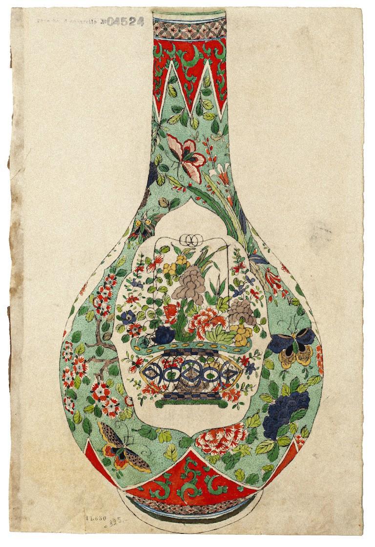 Japanese Vase - Original Watercolor on Ivory Paper - 19th Century