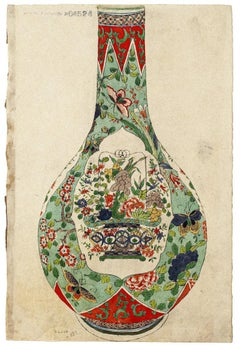 Japanese Vase - Original Watercolor on Ivory Paper - 19th Century
