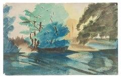 Landscape - Original Watercolor on Paper by Jean Delpech - 1956