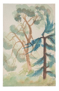 Trees - Original Watercolor on Paper by Jean Delpech - 1936