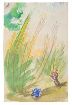 Vegetation - Original Watercolor on Paper by Jean Delpech - 1944