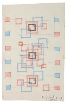 Geometric Composition - Watercolor on Paper by J.-R. Delpech - 1967