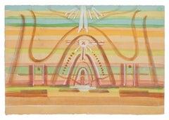 Surrealist Composition - Watercolor on Paper by J.-R. Delpech - 1960s