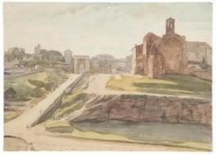 Landscape - Original Watercolor on Paper by Jean Delpech - 1960s