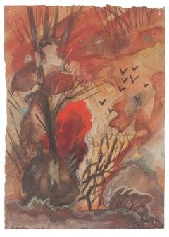 Autumn Landscape- Original Watercolor on Paper by Jean Delpech - 1942