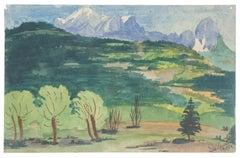 Mountain Landscape - Original Watercolor on Paper by Jean Delpech - 1984
