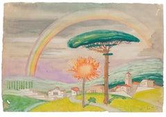 Mountain Landscape - Original Watercolor on Paper by Jean Delpech - 1946