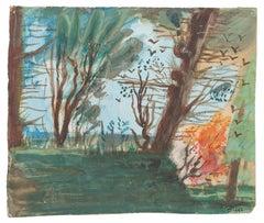 Landscape - Original Watercolor on Paper by Jean Delpech - 1942