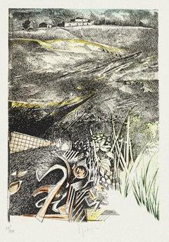 Landscape - Original Etching on Paper by Mario Logli - 20th Century
