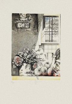 Still Life - Original Etching on Paper by Mario Logli - 20th Century