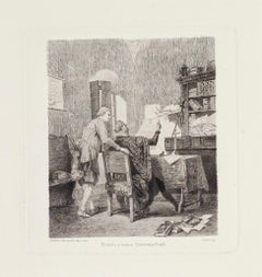 Renzo and Doctor - Original Etching on Paper by Alessandro Balduino - 1880