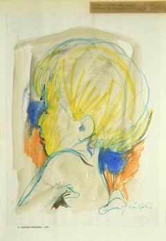 Portrait - Original Pastel Drawing by Leo Guida - 1967