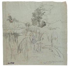 Landscape - Original Drawing in Pencil by Marcel Mangin - 20th Century