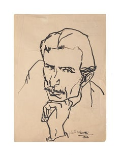 Portrait of Man - Original Drawing in China Ink by Umberto Casotti - 1947