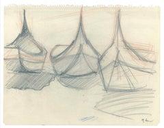 Boats - Original Pencil on Paper - 1947