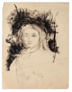 Portrait of Woman - Original China and Watercolor by Carlo Caroli - 1940s