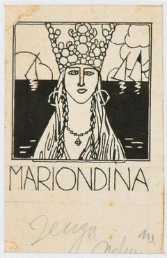 Mariondina - Illustration - Original China Ink by Bruno Angoletta - 1930s