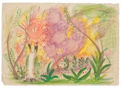 Landscape - Original Watercolor on Paper by Jean Delpech - 1946
