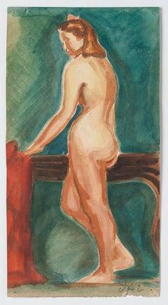 Nude - Original Watercolor on Paper by Jean Delpech - 1942