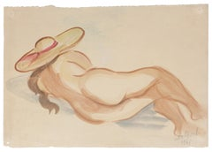 Nude - Original Watercolor on Paper by Jean Delpech - 1948