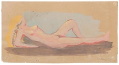 Nude - Original Watercolor on Paper by Jean Delpech - 1951