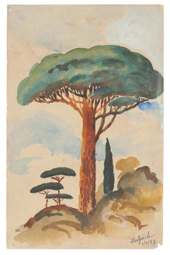 Lonely Tree- Original Watercolor on Paper by Jean Delpech - 1937