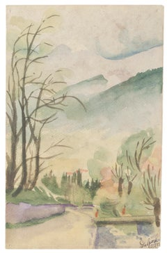 Landscape - Original Watercolor on Paper by Jean Delpech - 1933