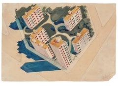 Cityscape - Original Watercolor on Paper by Jean Delpech - 1954