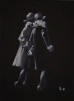 Walking Women - Original Tempera on Paper by Andres Osterlind - 1940s