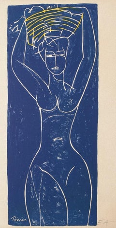 Nude - Original Woodcut by Emanuel Poirier - 1950 ca.