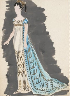 Costume - Original Tempera and Watercolor on Paper by Alkis Matheos - 1950 ca.