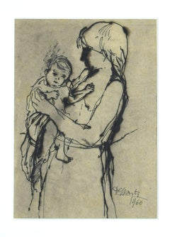 Mother and Child - Drawing in Pen and Watercolor by Francesco Delli Santi - 1966