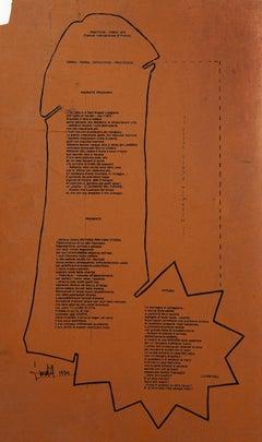 Lyric Composition - Original Screen Print on Linoleum by L. Luoratoll - 1974