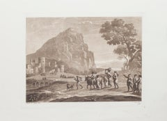 Landscape - Etching and Aquatint on Paper by L. Caracciolo After C. Lorrain