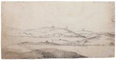 Landscape - Original Ink and Watercolor by Verdussen - Mid 18th Century