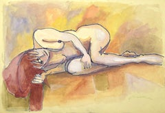 Lying Nude - Mixed Media by Mino Maccari - 1960s