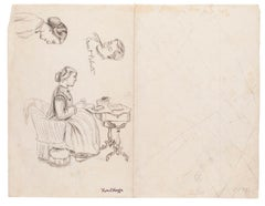 Study of Figures- Original Drawing on Paper by Marcel Mangin - Late 19th Century