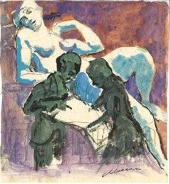 Couple - Mixed Media by Mino Maccari - 1960s