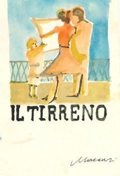 """Cover for """"Il Tirreno"""" - Watercolor by Mino Maccari - 1960s"""