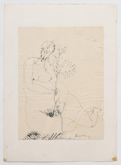 Nude - Original China Ink Drawing - 1958