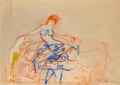 Nude with Dogs - Original Mixed Media r by M. Maccari - 1950s
