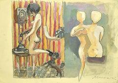 The Phone Rings - Mixed Media by Mino Maccari - 1960s