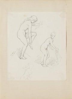 Nude Studies - Original Drawing by G. Guèrin - Early 20th Century
